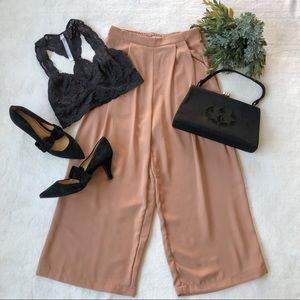 Elodie High Waisted Wide Leg Cropped Pants